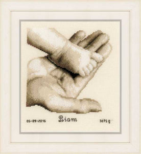 Baby Foot on Hand Birth Sampler Cross Stitch Kit By Vervaco