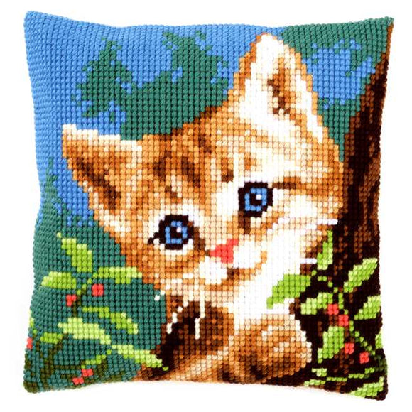 Cat on a Tree Printed Cross Stitch Cushion Kit by Vervaco