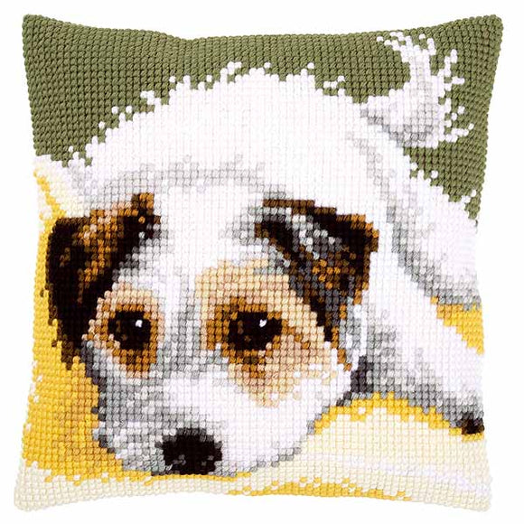 Dog Wagging its Tail Printed Cross Stitch Cushion Kit by Vervaco