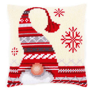Christmas Elf Printed Cross Stitch Cushion Kit by Vervaco