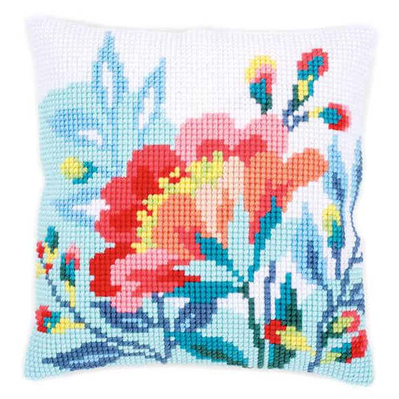 Bright Flowers Printed Cross Stitch Cushion Kit by Vervaco