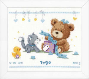 Bear and Present Birth Sampler Cross Stitch Kit By Vervaco