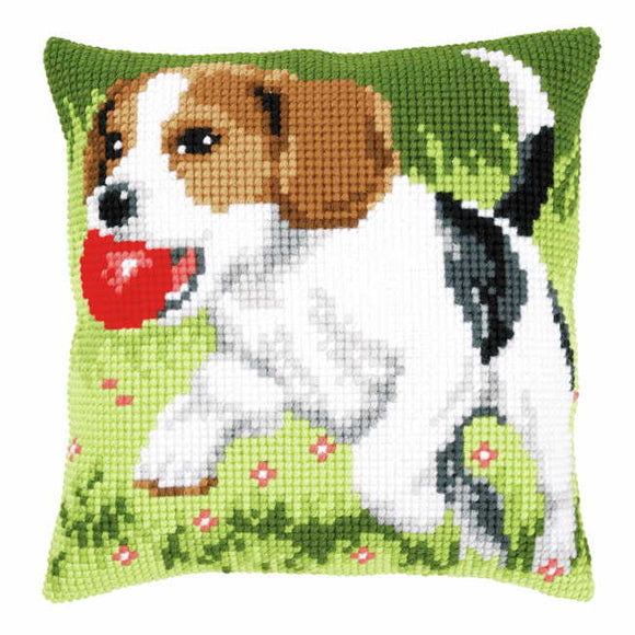 Beagle Printed Cross Stitch Cushion Kit by Vervaco