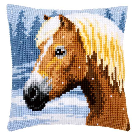 Horse and Snow Printed Cross Stitch Cushion Kit by Vervaco