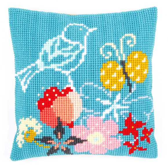 Bird and Butterfly Printed Cross Stitch Cushion Kit by Vervaco