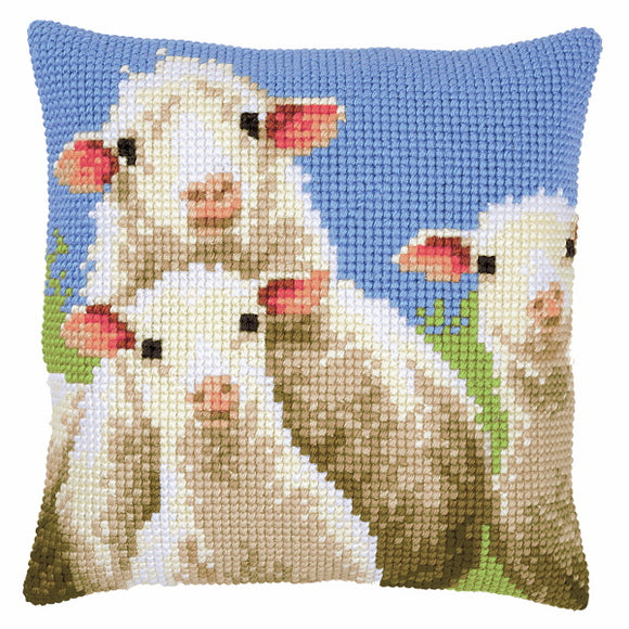 Curious Sheep Printed Cross Stitch Cushion Kit by Vervaco