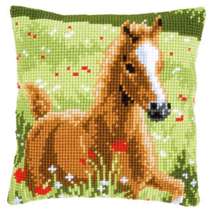 Foal Printed Cross Stitch Cushion Kit by Vervaco