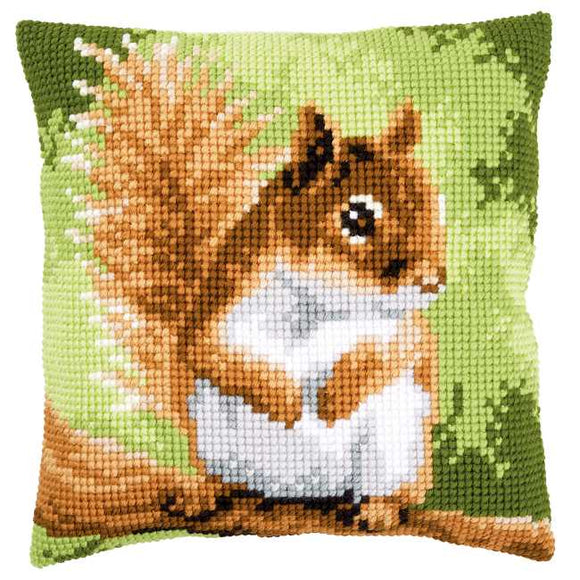 Squirrel Printed Cross Stitch Cushion Kit by Vervaco
