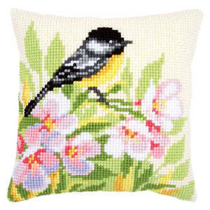 Tit and Blossoms Printed Cross Stitch Cushion Kit by Vervaco
