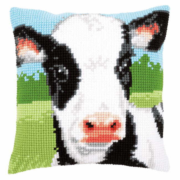 Cow Printed Cross Stitch Cushion Kit by Vervaco