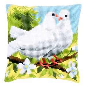 White Pigeons Printed Cross Stitch Cushion Kit by Vervaco