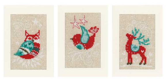 Winter Scenes Cross Stitch Christmas Card Kit By Vervaco