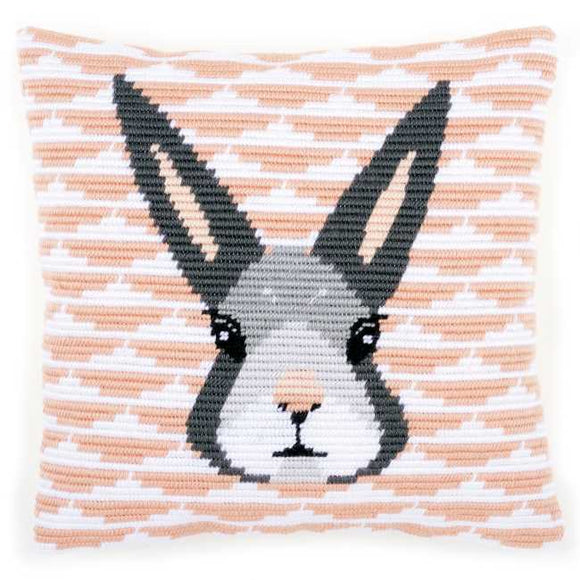 Yvonne Rabbit Counted Long Stitch Cushion Kit By Vervaco