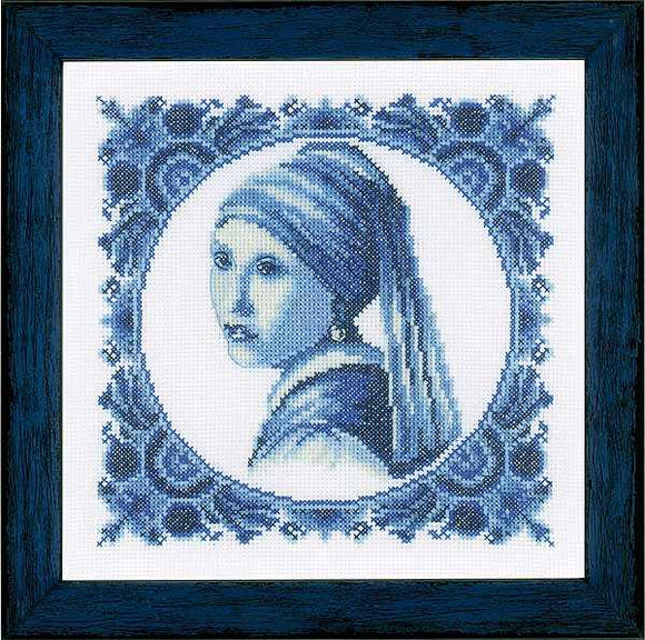 Delft Girl with Pearl Earring Cross Stitch Kit By Lanarte