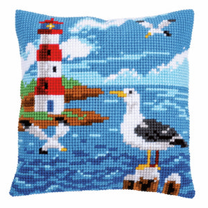 Lighthouse and Seagull Printed Cross Stitch Cushion Kit by Vervaco