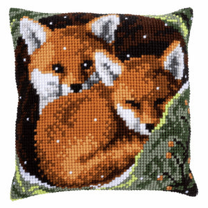 Foxes Printed Cross Stitch Cushion Kit by Vervaco