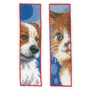 Cat and Dog Bookmark Cross Stitch Kit By Vervaco