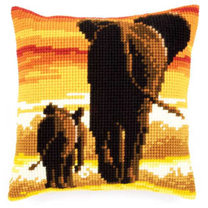 Elephants Printed Cross Stitch Cushion Kit by Vervaco