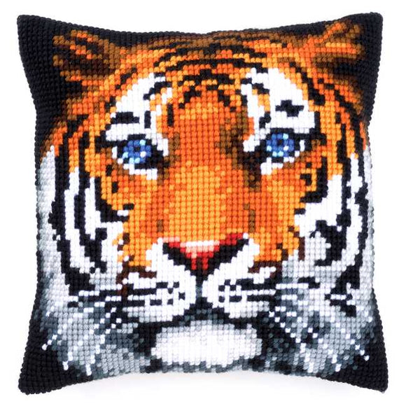 Tiger Printed Cross Stitch Cushion Kit by Vervaco