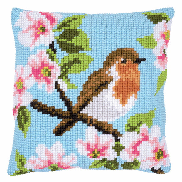 Robin and Blossoms Printed Cross Stitch Cushion Kit by Vervaco