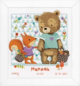 Bear and Squirrel Birth Sampler Cross Stitch Kit By Vervaco