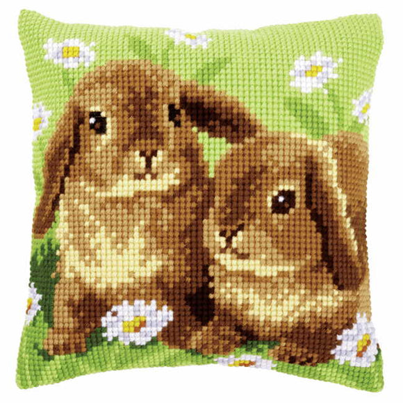 Two Rabbits Printed Cross Stitch Cushion Kit by Vervaco