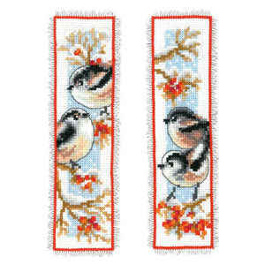 Long Tailed Tits and Red Berries Bookmark Cross Stitch Kit By Vervaco