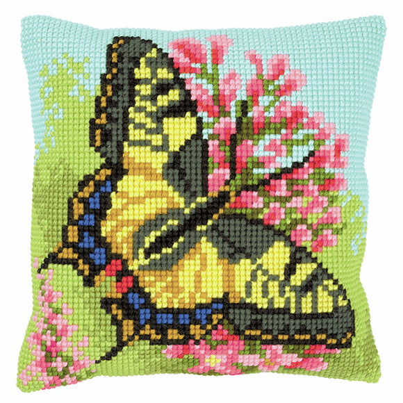 Butterfly Printed Cross Stitch Cushion Kit by Vervaco