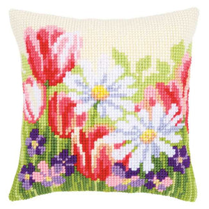 Spring Flowers Printed Cross Stitch Cushion Kit by Vervaco