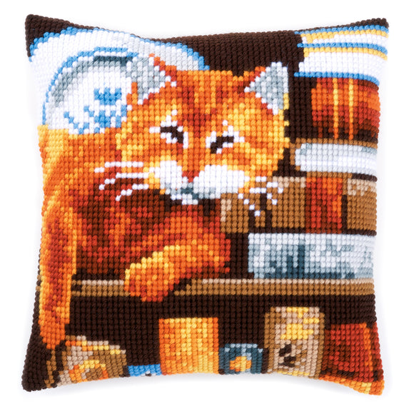 Cat and Books Printed Cross Stitch Cushion Kit by Vervaco