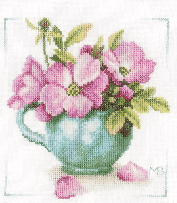 Wild Roses Cross Stitch Kit By Lanarte