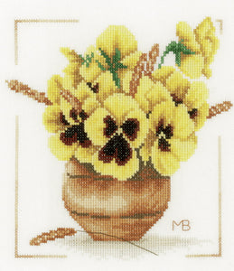 Yellow Violets Cross Stitch Kit By Lanarte