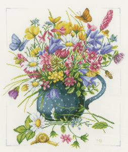 Flowers in Vase Cross Stitch Kit By Lanarte