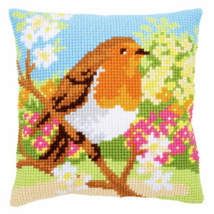 Robin in the Garden Printed Cross Stitch Cushion Kit by Vervaco