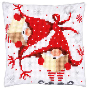 Christmas Gnomes Printed Cross Stitch Cushion Kit by Vervaco