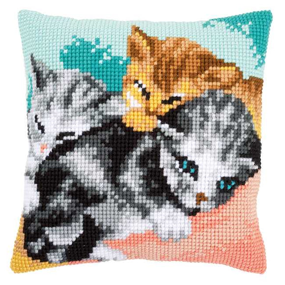 Cute Kittens Printed Cross Stitch Cushion Kit by Vervaco