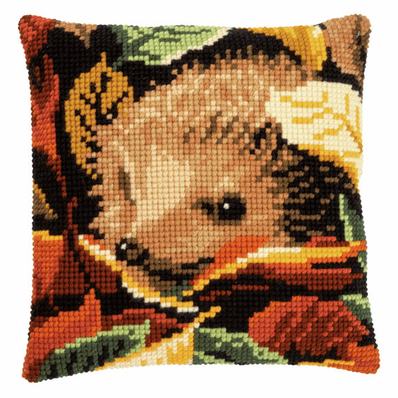 Hedgehog Printed Cross Stitch Cushion Kit by Vervaco