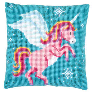Unicorn Printed Cross Stitch Cushion Kit by Vervaco