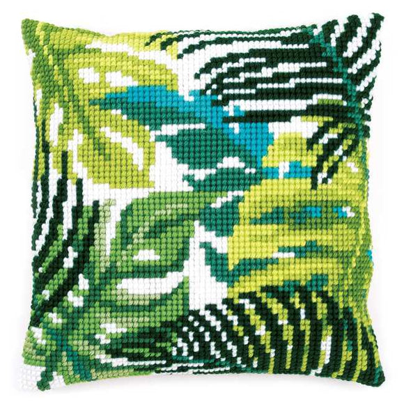 Botanical Leaves Printed Cross Stitch Cushion Kit by Vervaco