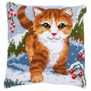 Cat in Snow Printed Cross Stitch Cushion Kit by Vervaco