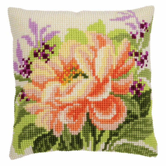 Peony Printed Cross Stitch Cushion Kit by Vervaco