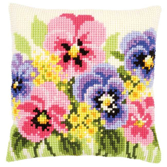 Violets Printed Cross Stitch Cushion Kit by Vervaco