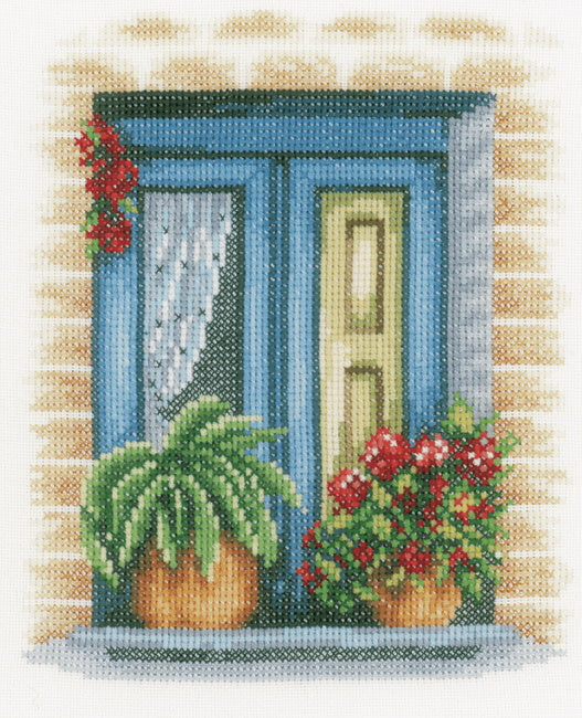 Blue Window Cross Stitch Kit By Lanarte