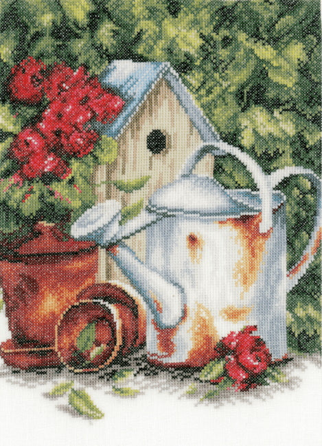 Watering Can and Bird House Cross Stitch Kit By Lanarte