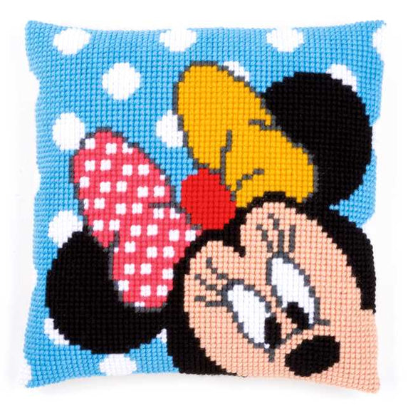 Minnie Peek a Boo Printed Cross Stitch Cushion Kit by Vervaco