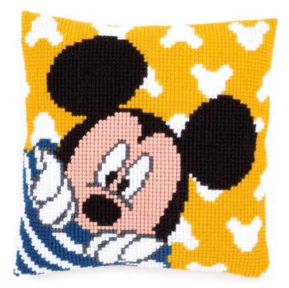 Mickey Peek a Boo Printed Cross Stitch Cushion Kit by Vervaco