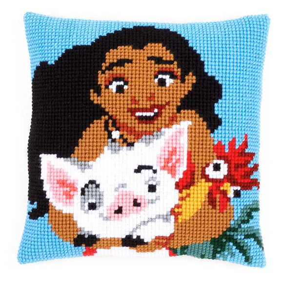 Moana Printed Cross Stitch Cushion Kit by Vervaco