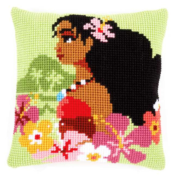Moana Island Printed Cross Stitch Cushion Kit by Vervaco