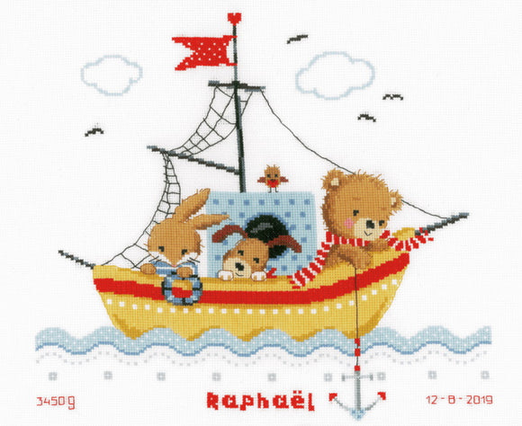 Sailing Boat Birth Sampler Cross Stitch Kit By Vervaco