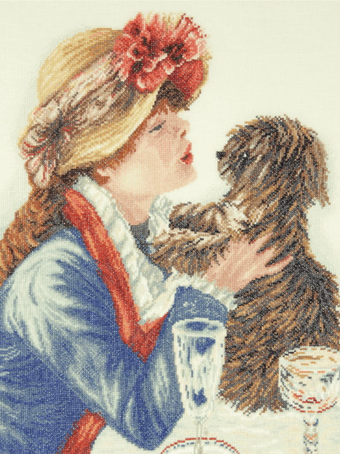 Girl and Dog Cross Stitch Kit By Lanarte